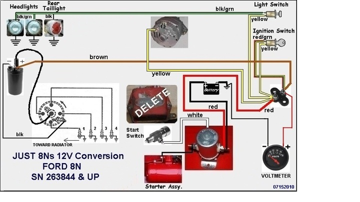8n Wiring Diagram : Ford n volt conversion wiring diagram